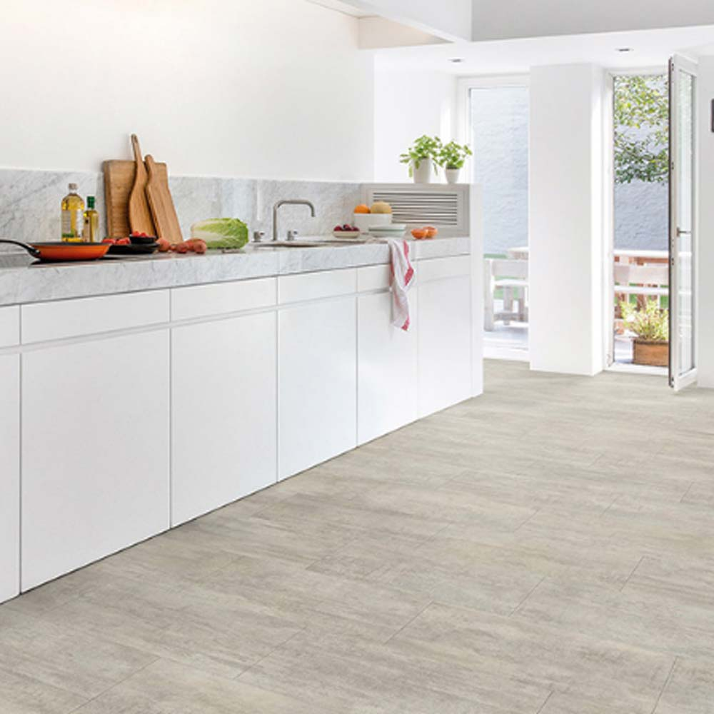 Home Office Vinyl Flooring Tiles In Dubai: Quick-Step Livyn Ambient Click Light Grey Travertin AMCL4004