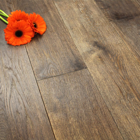 190mm UV Oiled Engineered Tannery Brown Rustic Oak Wood Flooring 2.17m²