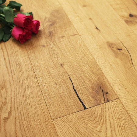 190mm Oiled Engineered Weathered Beam Rustic Oak Wood Flooring 2.17m²