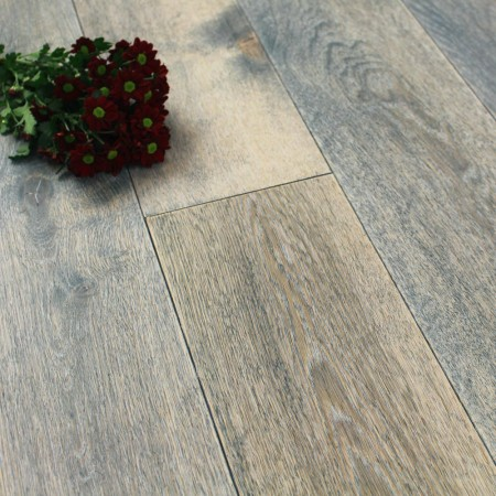 190mm UV Oiled Engineered Wharf Grey Rustic Oak Wood Flooring 2.17m²