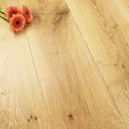 190mm UV Oiled Brushed & White Wash Engineered Knotty Oak Click Wood Flooring 2.89m²