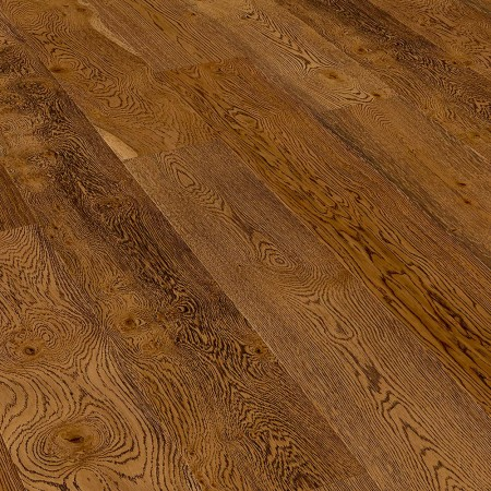 240mm Oiled Engineered Embossed Burnt Umber Brown Rustic Oak Wood Flooring  1.82m²