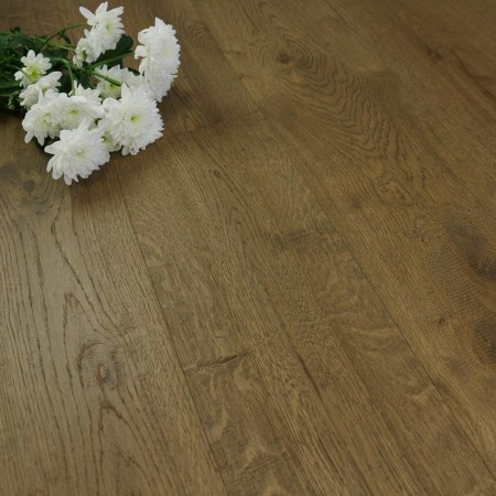 190mm Handscraped & Natural Oiled Engineered Mocha Oak Click Wood Flooring 2.17m²