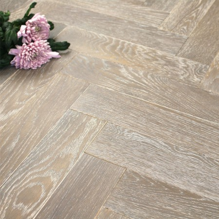 90mm UV Oiled Engineered Rocksalt Oak Parquet Block Wood Flooring 1.8144m²