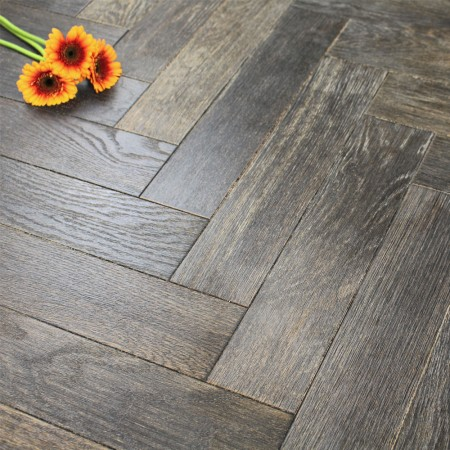 90mm UV Oiled Engineered Woodland Brown Oak Parquet Block Wood Flooring 1.8144m²