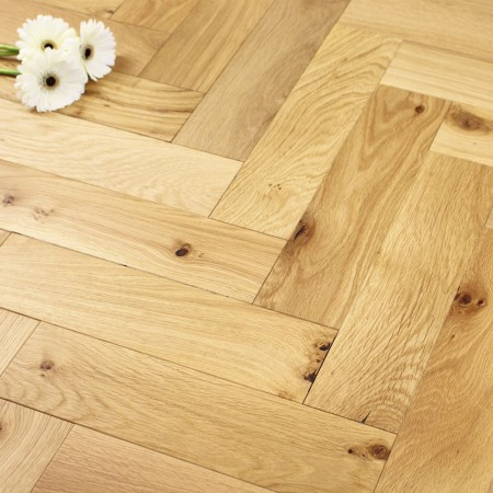 90mm Oiled Engineered Rustic Oak Parquet Block Wood Flooring 1.8144m²