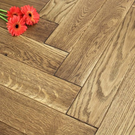 Engineered Honey Brushed & Oiled Oak Parquet Block Wood Flooring 0.5m²