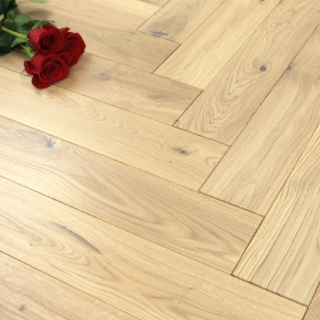 100mm UV Oiled Engineered Cool White Oak Parquet Block Wood Flooring 0.5m²