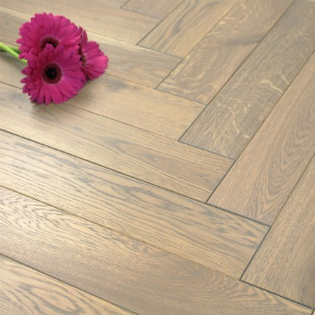 100mm Brushed & UV Oiled Engineered Oak Grey Parquet Block Wood Flooring 0.5m2