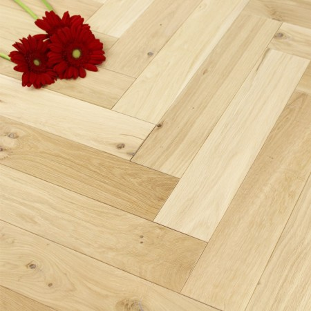 100mm Unfinished (Micro Bevelled Edge) Engineered Oak Parquet Block Wood Flooring 0.5m2