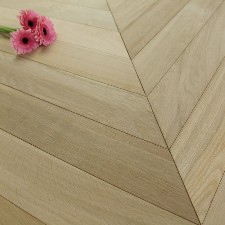 90mm Engineered Unfinished Oak Natural Chevron Block Wood Flooring 0.7776m²