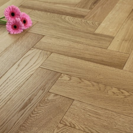 90mm Brushed Lacquered Engineered Oak Parquet Block Wo