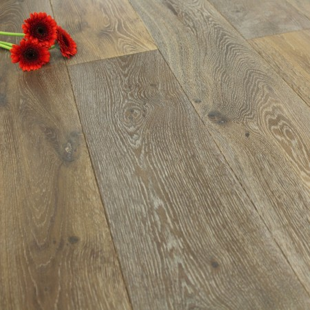 190mm Brushed & White Oiled Engineered Smoked Oak Wood Flooring 2.89m²