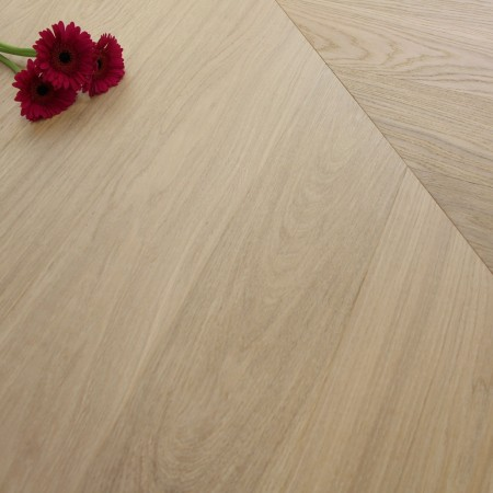 140mm Engineered Brushed & Oiled Rice White Oak Chevron Block Wood Flooring 1.45m²