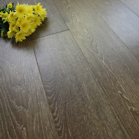 180mm Engineered Brushed and Matt Lacquered White Espresso Oak Wood Flooring 2.77m²
