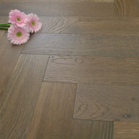 120mm Brushed & Matt Lacquered Engineered Smoked Coffee Oak Parquet Block Wood Flooring 0.864m²