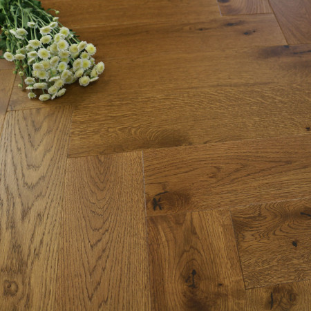 130mm Brushed & Matt Lacquered Engineered Deep Oak Parquet Block Click Wood Flooring 0.65m²