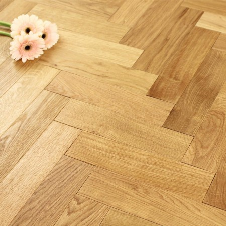 Engineered Natural Oiled Oak Parquet Block Wood Flooring 0.588m²