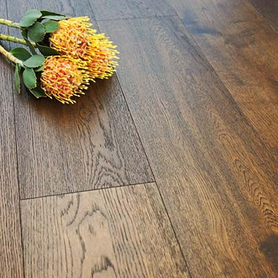 190mm Brushed & Oiled Engineered Coffee Oak Click Wood Flooring 2.89m²