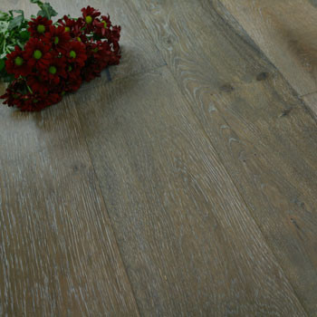190mm Engineered Grey Smoked Light Hand Scraped & Oiled 1-Strip Oak Wood Flooring 2.88m²