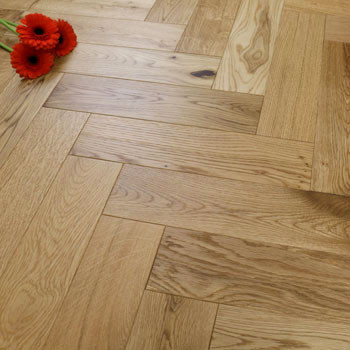 90mm Engineered Brushed & UV Oiled Natural Charnwood Oak Parquet Block Wood Flooring 1.07m²
