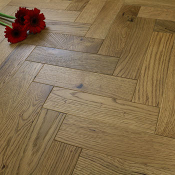70mm Engineered Brushed & UV Oiled Smoked Charnwood Oak Parquet Block Wood Flooring 0.86m²