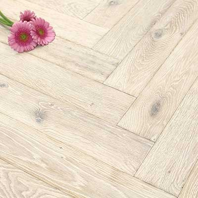 100mm Brushed & Oiled Engineered Ice White Oak Parquet Block Wood Flooring 0.5m²