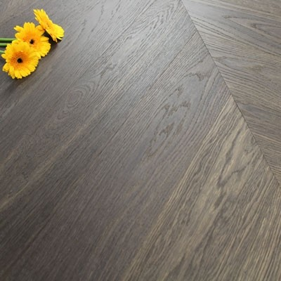140mm Engineered Brushed & Oiled Liquorice Oak Chevron Block Wood Flooring 1.45m²