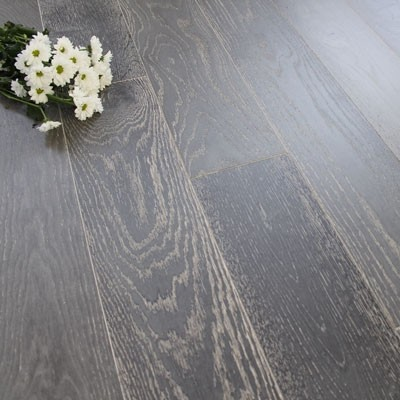150mm UV Oiled Engineered Deep Night Grey Oak Wood Flooring 1.98m²