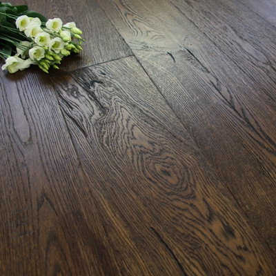 190mm Engineered Brushed and UV Oiled Distressed Antique Oak Wood Flooring 2.89m²