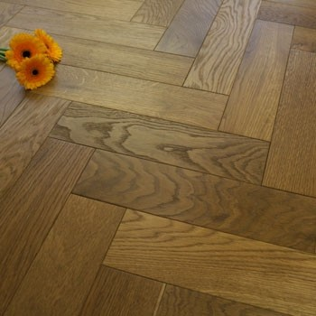 90mm Brushed & Oiled Golden Smoked Oak Parquet Block Wood Flooring 1.81m²