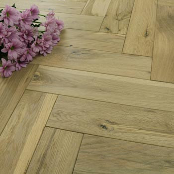 90mm Engineered Parchment Brushed & White UV Oiled Parquet Block Wood Flooring 1.584m²