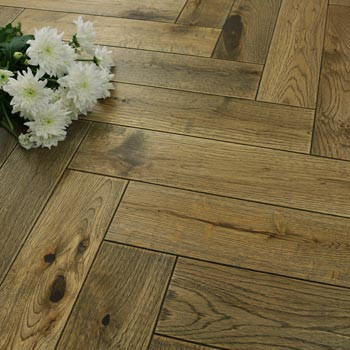 90mm Engineered Urban Brown Brushed & UV Oiled Parquet Block Wood Flooring 1.584m²