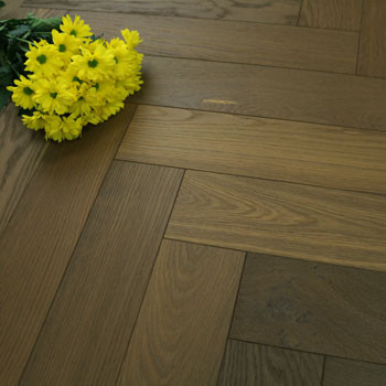 120mm Brushed & Matt Lacquered Engineered Dark Smoked Oak Parquet Block Wood Flooring 0.864m²
