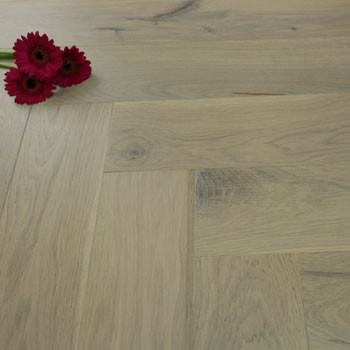 130mm Brushed & Matt Lacquered Engineered Nordic Pearl Oak Parquet Block Click Wood Flooring 0.65m²