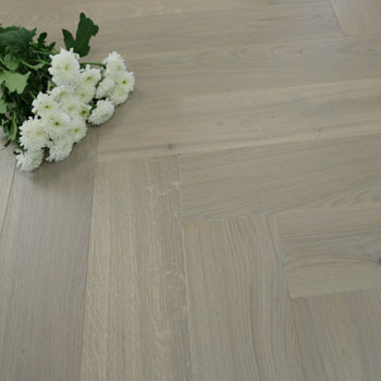 130mm Brushed & Matt Lacquered Engineered Nordic Grey Oak Parquet Block Click Wood Flooring 0.65m²