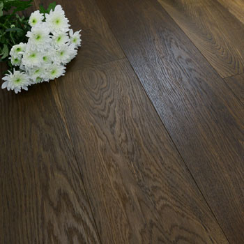 190mm Engineered Brushed & Oiled Intense Smoked Oak Wood Flooring 2.88m²