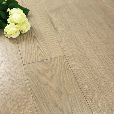 180mm Brushed & Lacquered Engineered Flint Grey Oak Wood Flooring 2.592m²