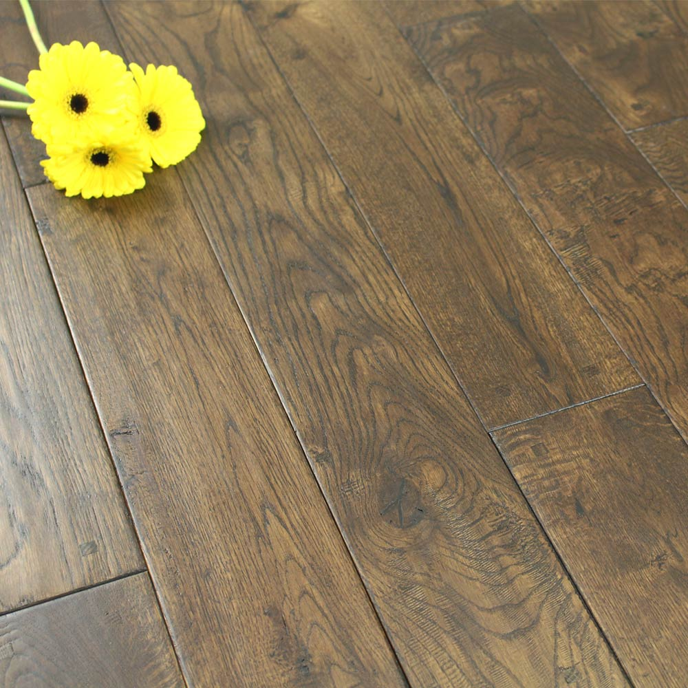 125mm lacquered antique square peg solid oak wood flooring 2 for Real wood flooring