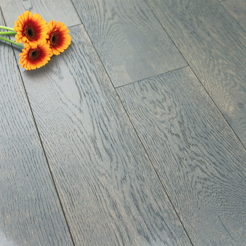 150mm Brushed Lacquered Engineered Pebble Grey Oak Wood Flooring 165m2