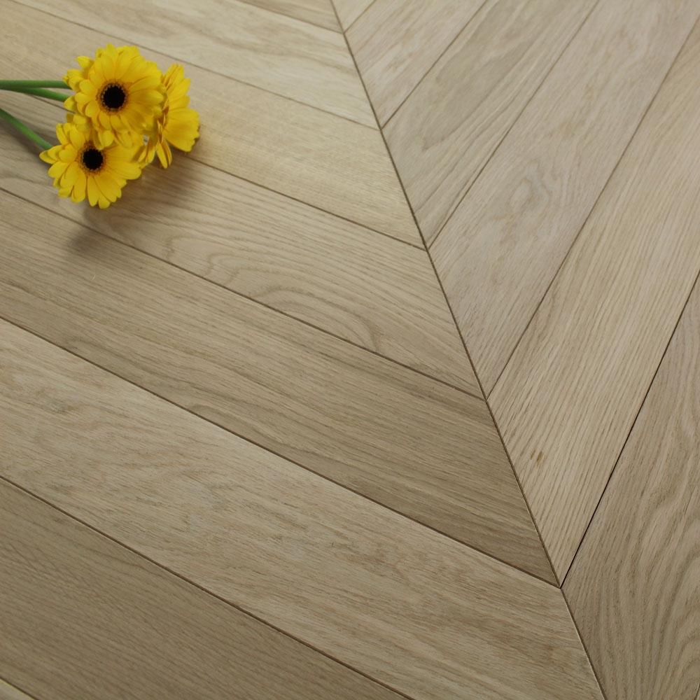 90mm Engineered Unfinished Oak Prime Chevron Block Wood Floo