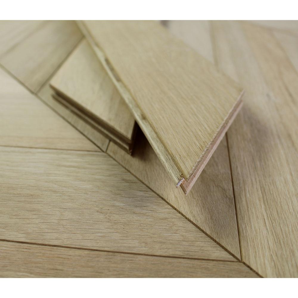 90mm Engineered Unfinished Oak Natural Chevron Block Wood Fl