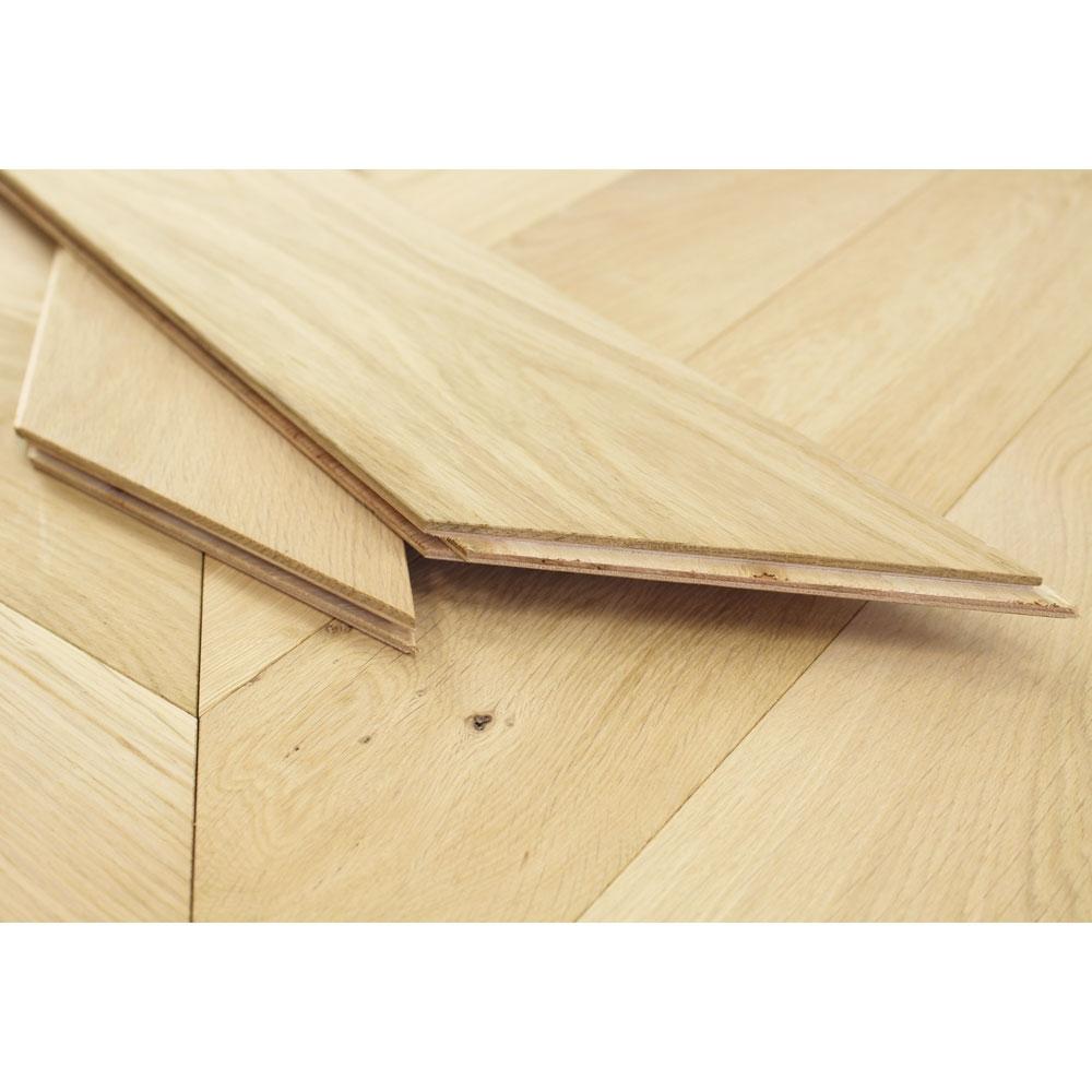 120mm Unfinished Engineered Oak Chevron Block Wood Flooring