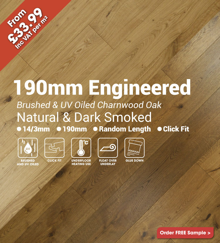 190mm Brushed & UV Oiled Charnwood Oak Wood Flooring