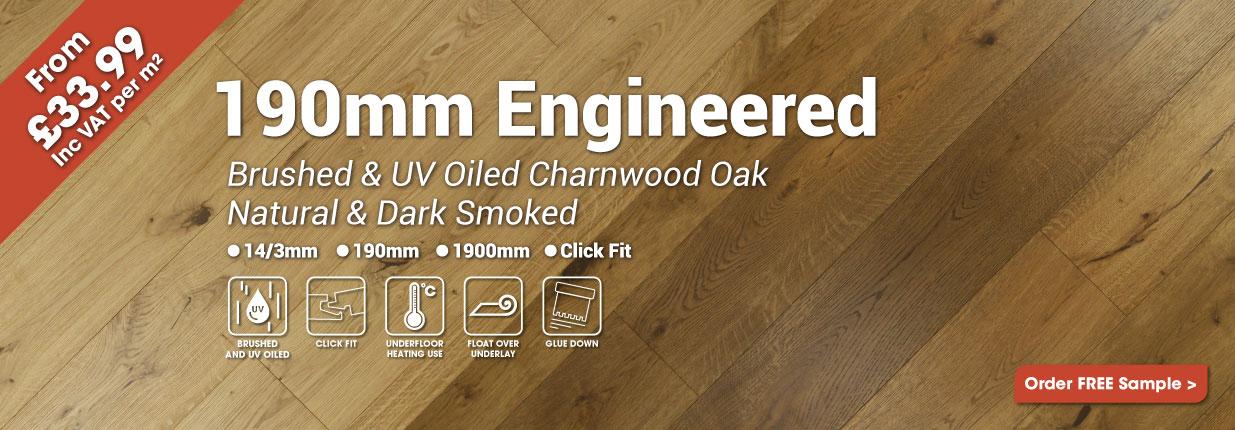 190mm Brushed & UV Oiled Charnwood Oak Wood Flooring