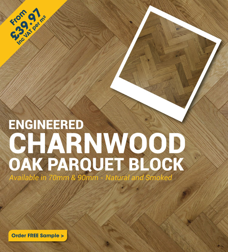 Engineered Brushed & Oiled Charnwood Oak Parquet Block