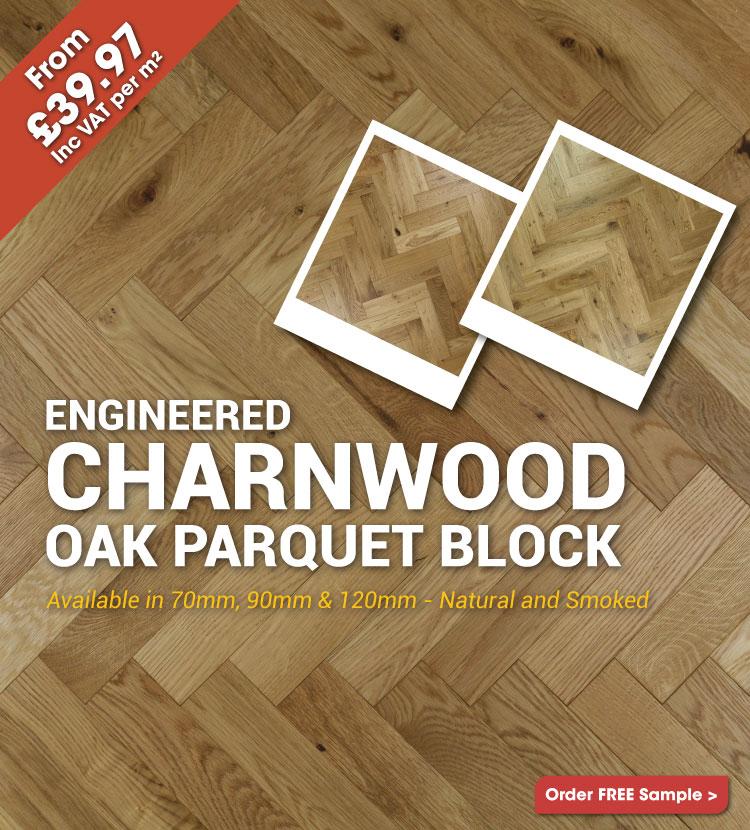 Engineered Brushed & Oiled Charnwood Oak Parquet Block