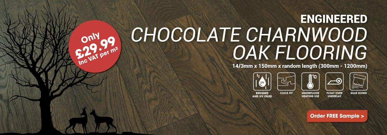 Engineered Chocolate Charnwood Oak Flooring Only £29.99m2