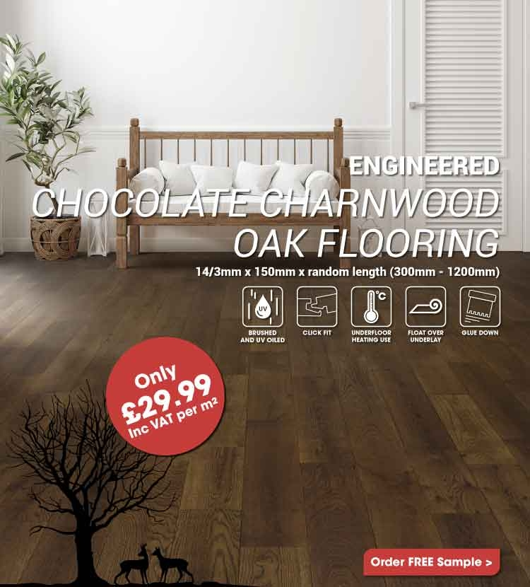Engineered Chocolate Charnwood Oak Flooring Only £29.99m2