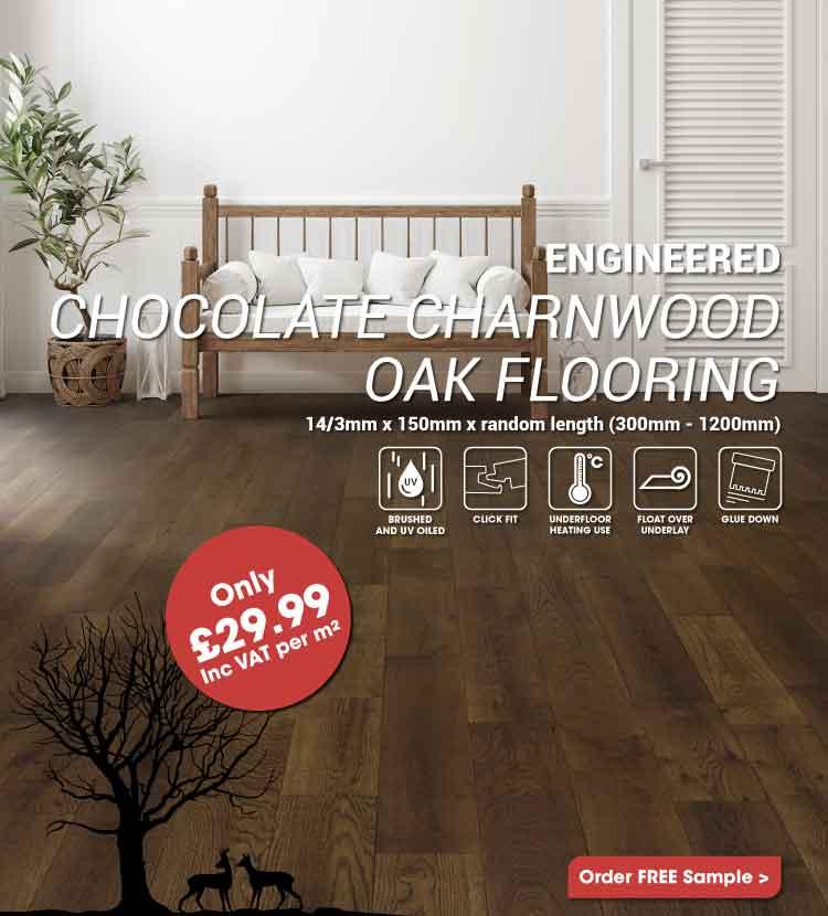 Engineered Chocolate Charnwood Oak Click Wood Flooring